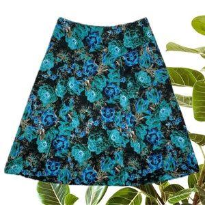 Jacqui E Size 8 A-Line Skirt Blue Green Floral
